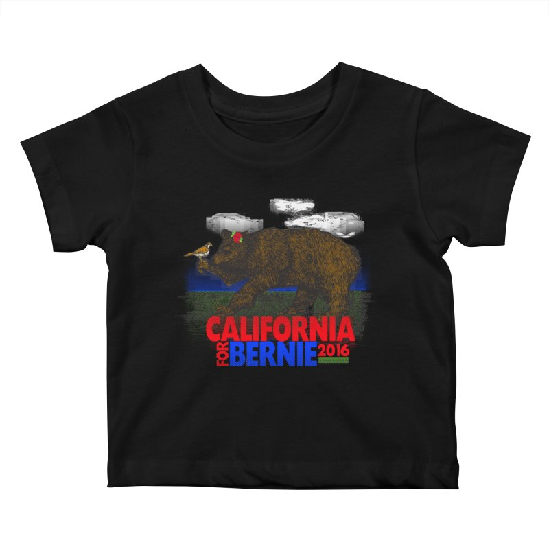 California For Bernie! Bear and Sparrow Kids Baby T-Shirt by deathandtaxes's Artist Shop