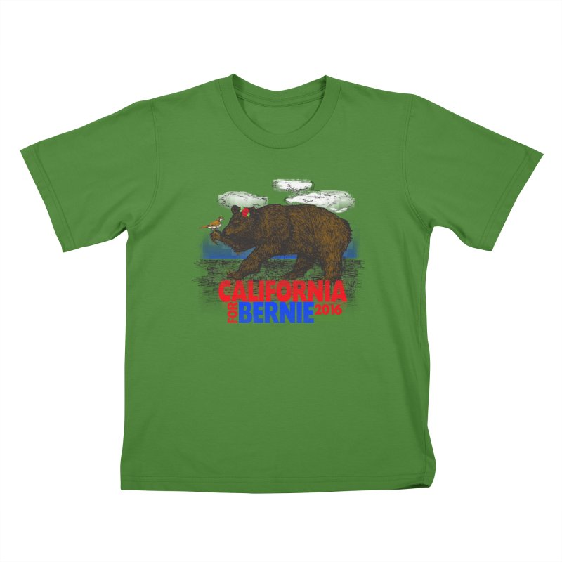 California For Bernie! Bear and Sparrow Kids T-Shirt by deathandtaxes's Artist Shop