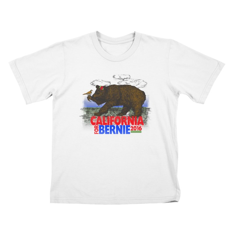 California For Bernie! Bear and Sparrow Kids T-Shirt by deathandtaxes's Artist Shop