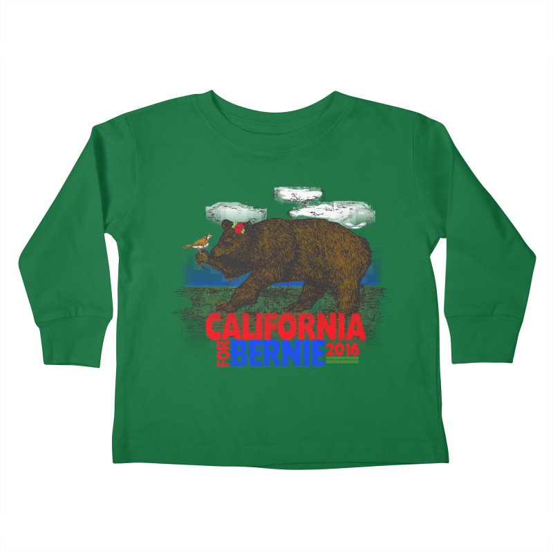 California For Bernie! Bear and Sparrow Kids Toddler Longsleeve T-Shirt by deathandtaxes's Artist Shop