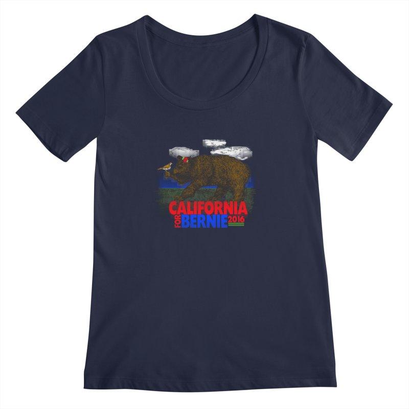California For Bernie! Bear and Sparrow Women's Regular Scoop Neck by deathandtaxes's Artist Shop
