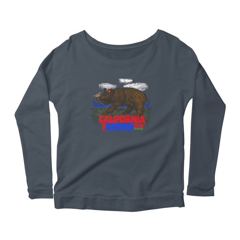 California For Bernie! Bear and Sparrow Women's Scoop Neck Longsleeve T-Shirt by deathandtaxes's Artist Shop