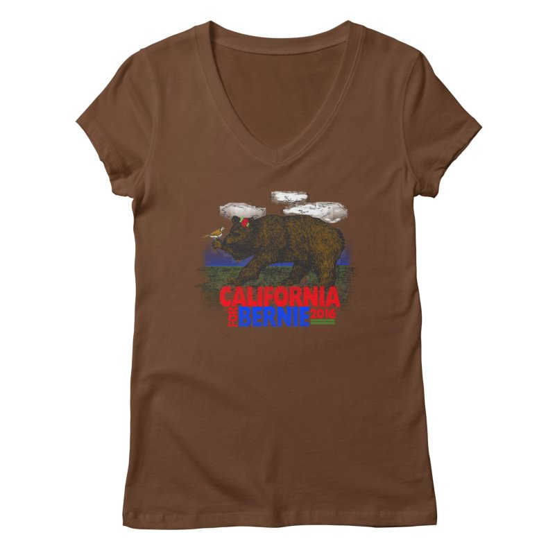 California For Bernie! Bear and Sparrow Women's V-Neck by deathandtaxes's Artist Shop