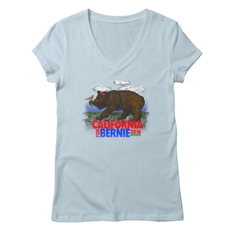 California For Bernie! Bear and Sparrow Women's Regular V-Neck by deathandtaxes's Artist Shop