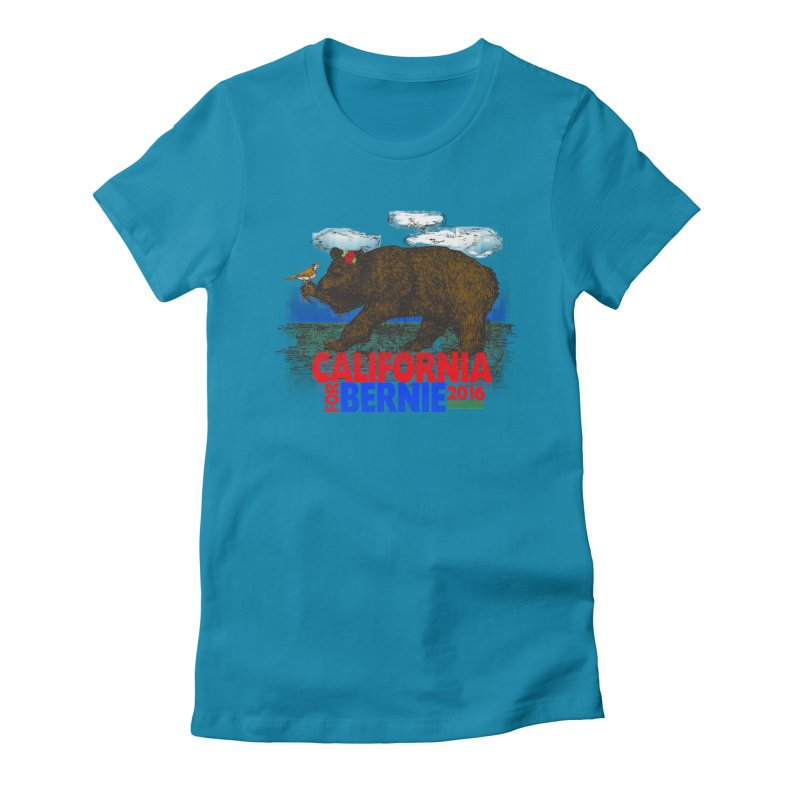 California For Bernie! Bear and Sparrow Women's Fitted T-Shirt by deathandtaxes's Artist Shop