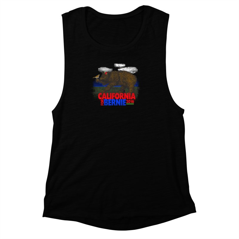California For Bernie! Bear and Sparrow Women's Muscle Tank by deathandtaxes's Artist Shop