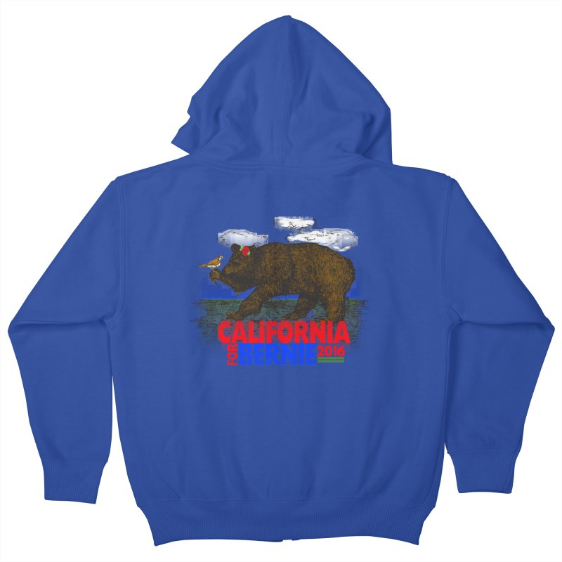 California For Bernie! Bear and Sparrow Kids Zip-Up Hoody by deathandtaxes's Artist Shop