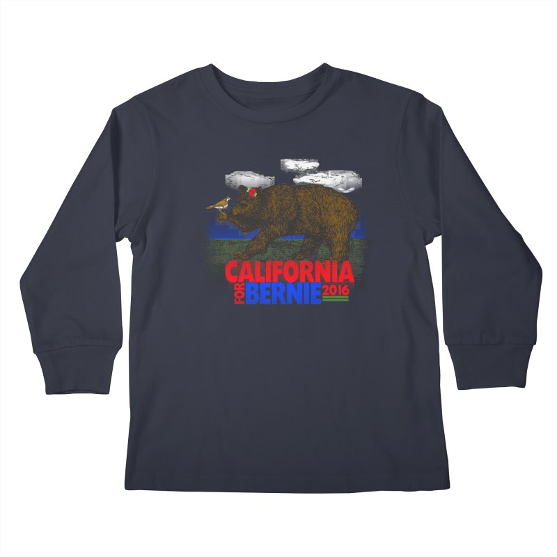 California For Bernie! Bear and Sparrow Kids Longsleeve T-Shirt by deathandtaxes's Artist Shop