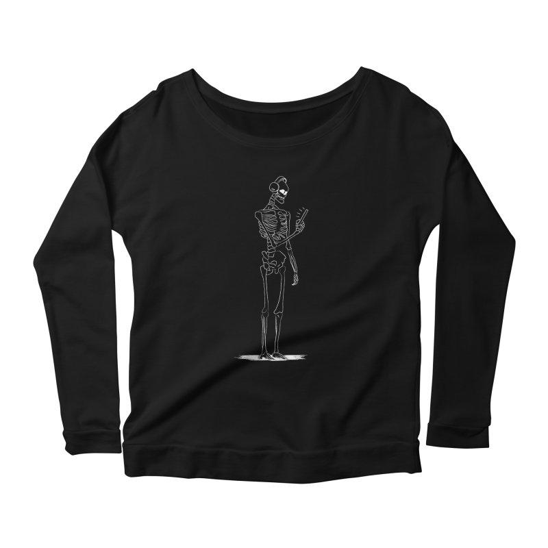 Skeleton Full - White on Black Women's Longsleeve T-Shirt by deathbyinternet's Artist Shop