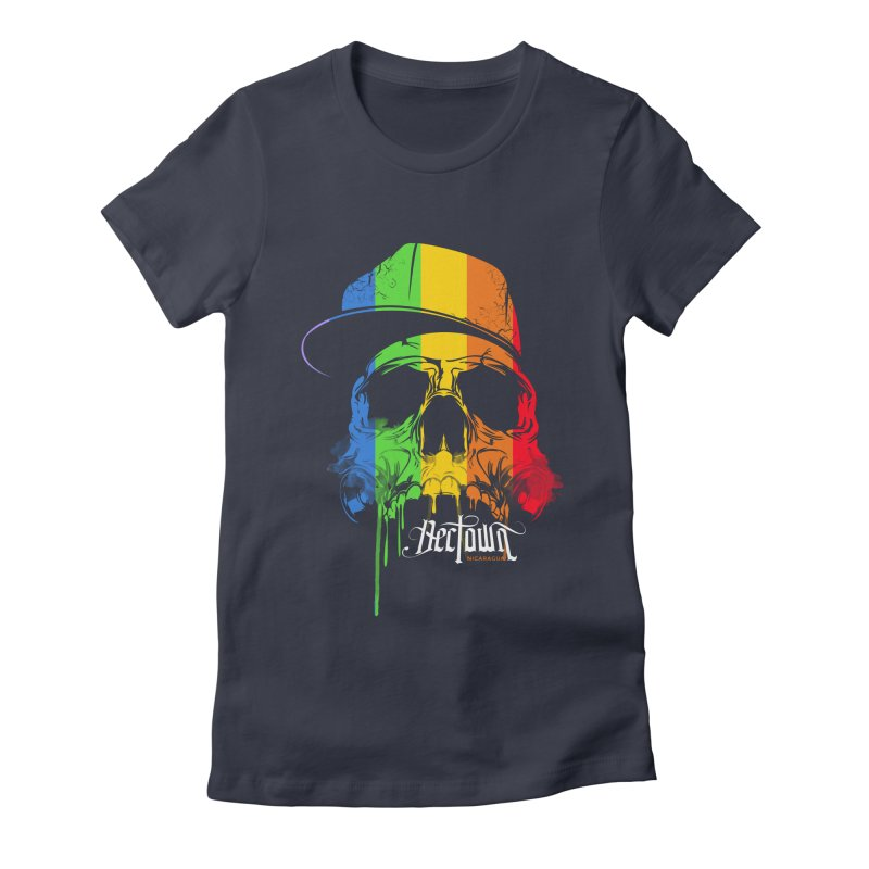 Rainbow Skull Women's Fitted T-Shirt by Dectown's Artist Shop