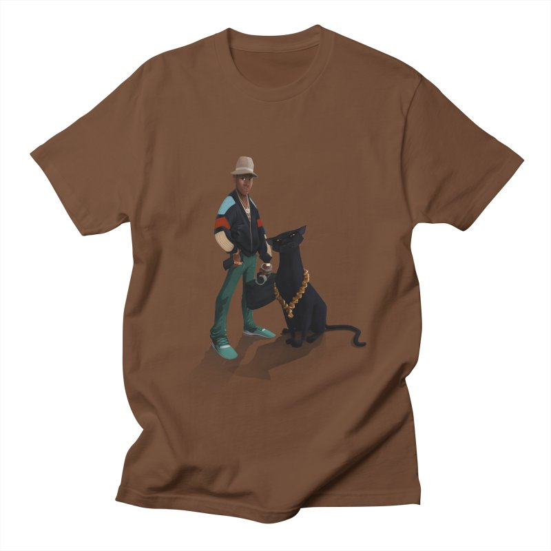 Walking with a Panther in Men's T-Shirt Brown by Dedos tees