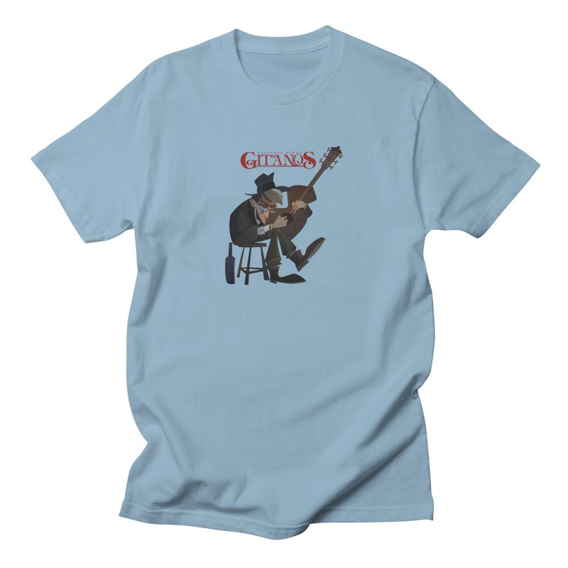 Toca la Guitarra in Men's Regular T-Shirt Light Blue by Dedos tees