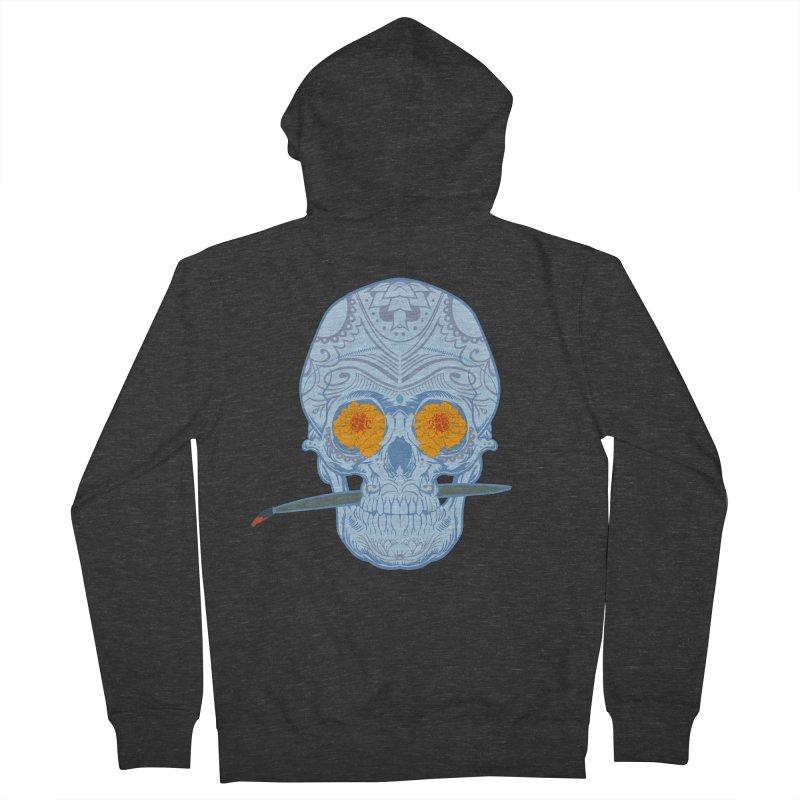 Sugar Skull white Women's Zip-Up Hoody by Dedos tees