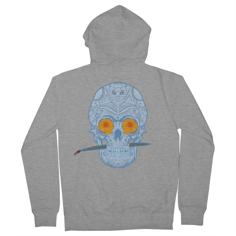 Sugar Skull white Women's Zip-Up Hoody by Dedos tees
