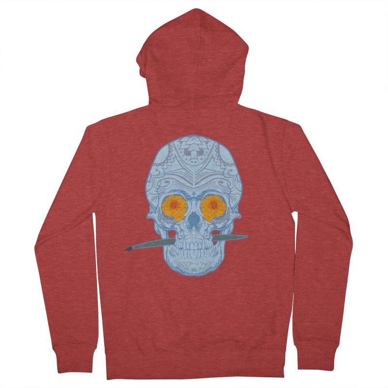 Sugar Skull white Men's Zip-Up Hoody by Dedos tees