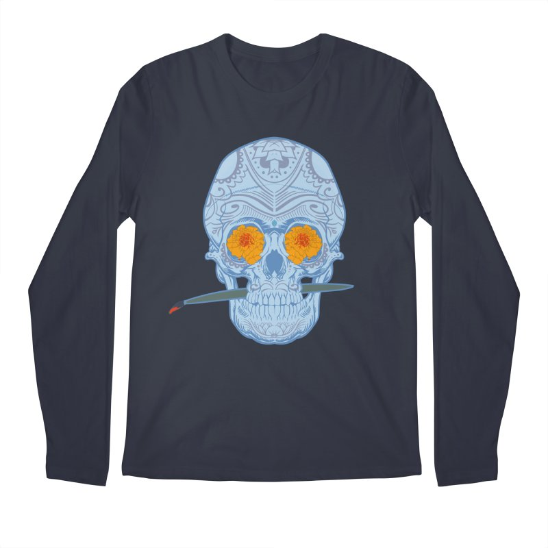 Sugar Skull white Men's Longsleeve T-Shirt by Dedos tees