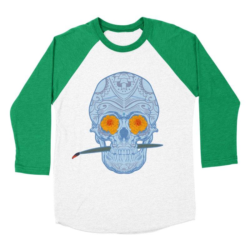 Sugar Skull white Women's Baseball Triblend T-Shirt by Dedos tees