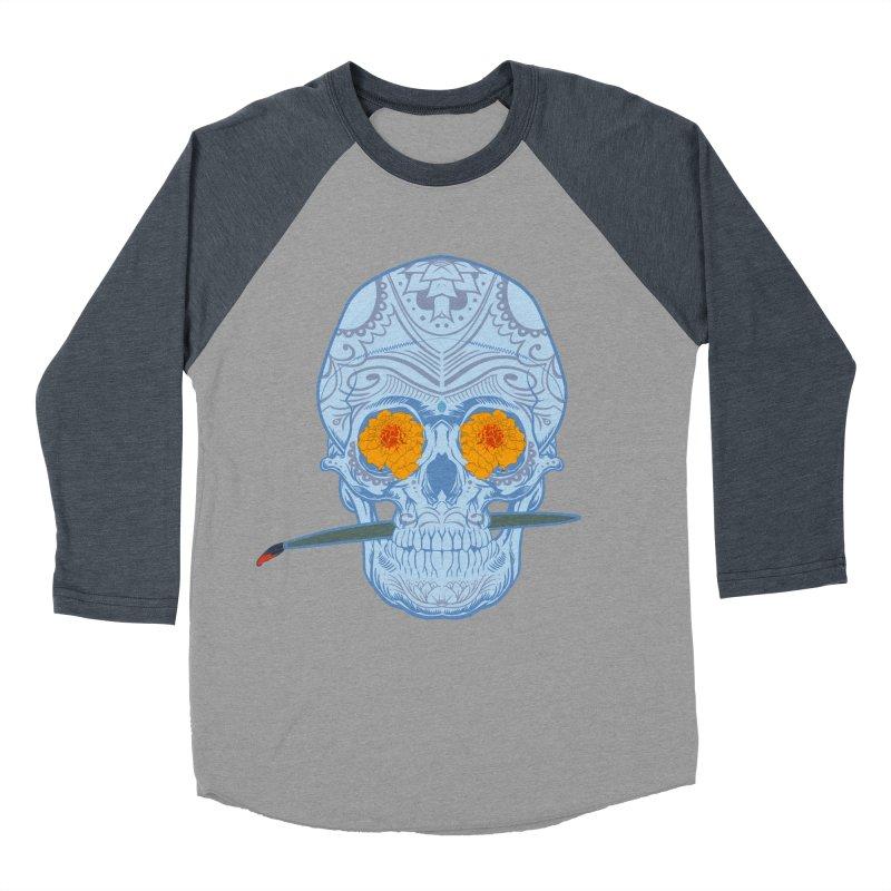 Sugar Skull white Men's Baseball Triblend T-Shirt by Dedos tees