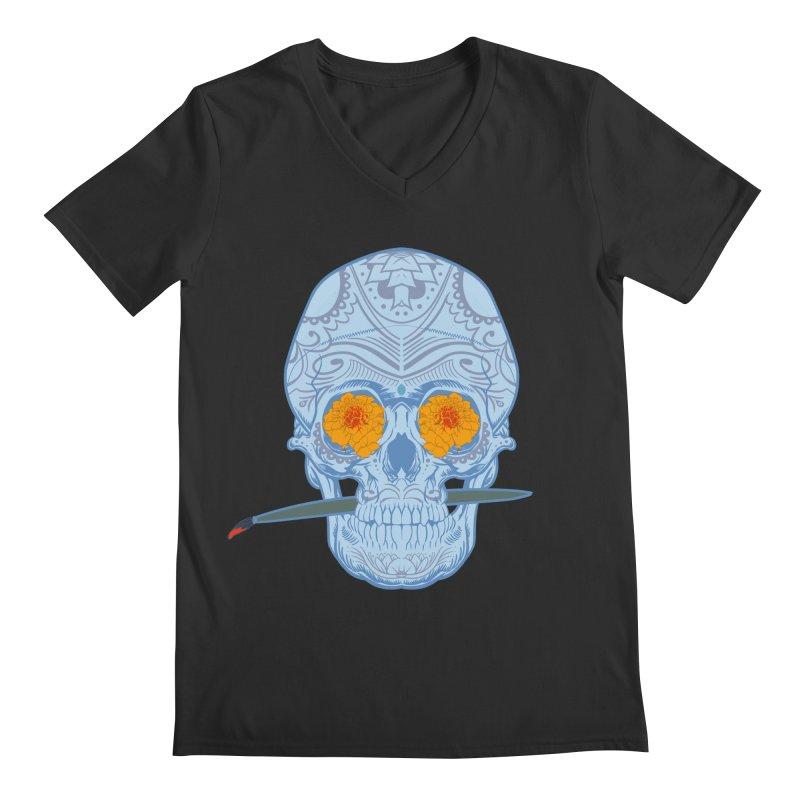 Sugar Skull white Men's V-Neck by Dedos tees