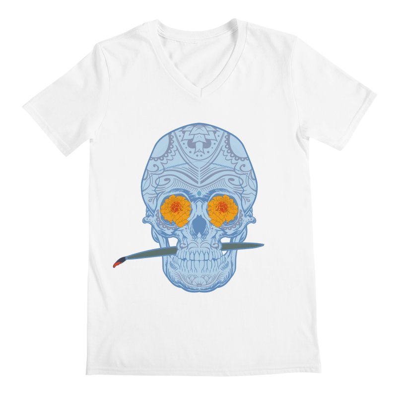 Sugar Skull white Men's V-Neck by Dedos tees