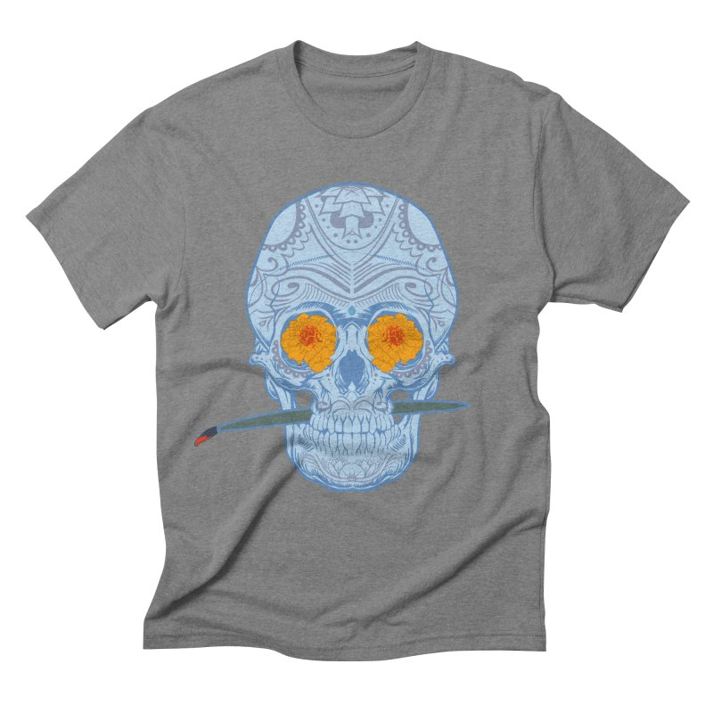 Sugar Skull white Men's Triblend T-shirt by Dedos tees