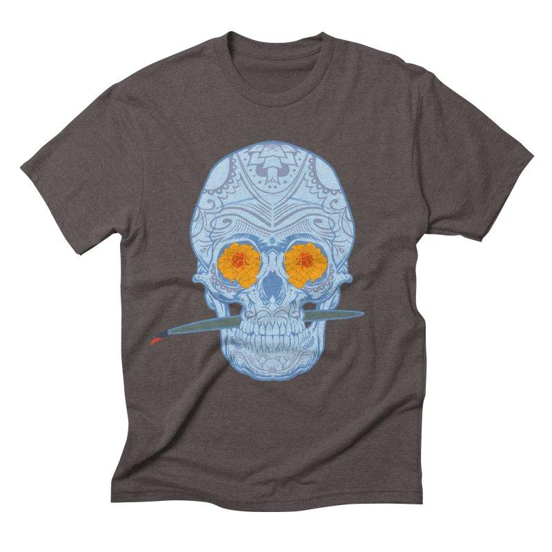 Sugar Skull white Men's Triblend T-shirt by Dedos tees