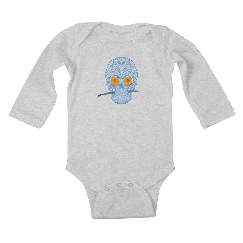 Sugar Skull white Kids Baby Longsleeve Bodysuit by Dedos tees