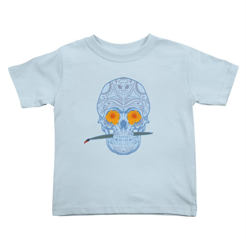 Sugar Skull white Kids Toddler T-Shirt by Dedos tees