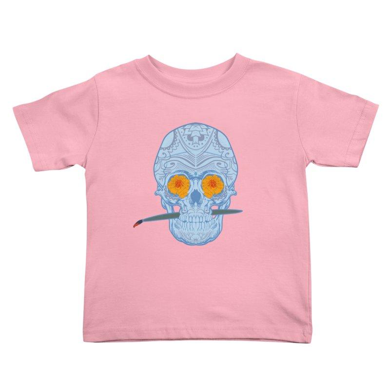 Sugar Skull white Kids Toddler T-Shirt by Dedos tees