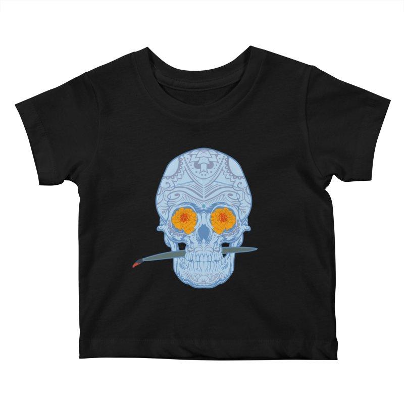 Sugar Skull white Kids Baby T-Shirt by Dedos tees