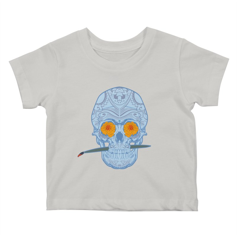 Sugar Skull white Kids Baby T-Shirt by Dedos tees