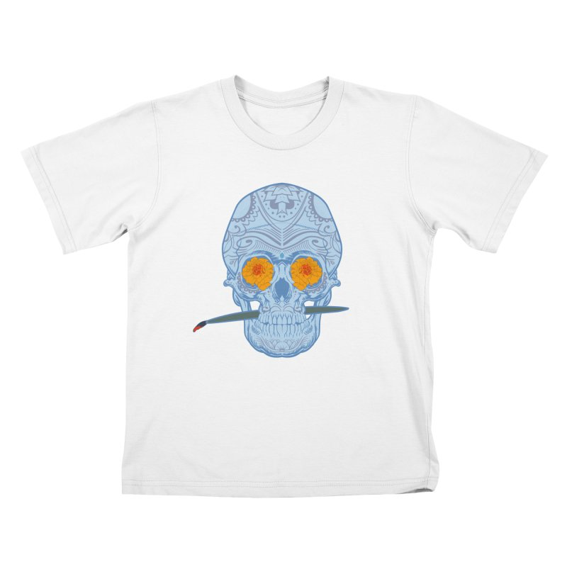 Sugar Skull white Kids T-shirt by Dedos tees