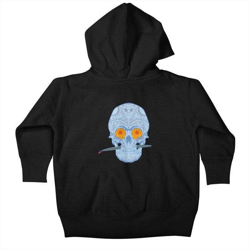 Sugar Skull white Kids Baby Zip-Up Hoody by Dedos tees
