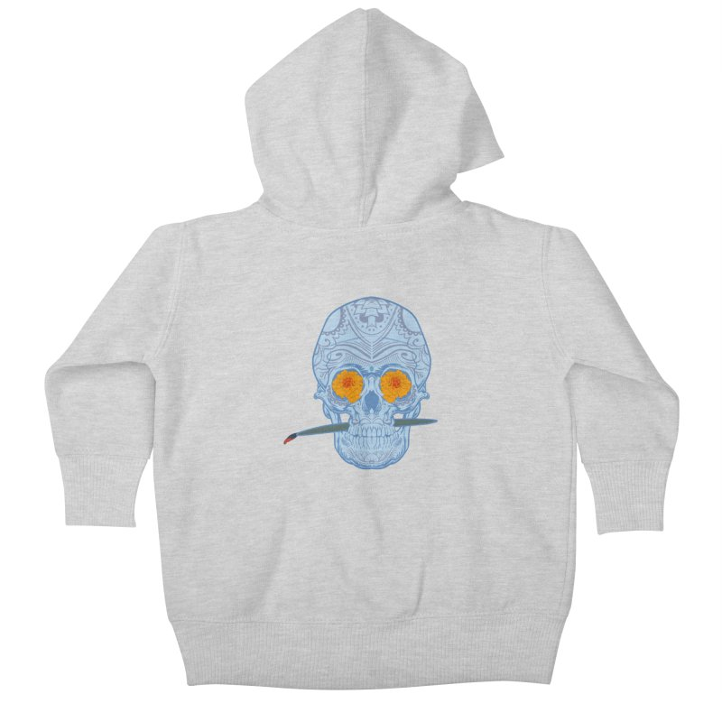 Sugar Skull white Kids Baby Zip-Up Hoody by Dedos tees