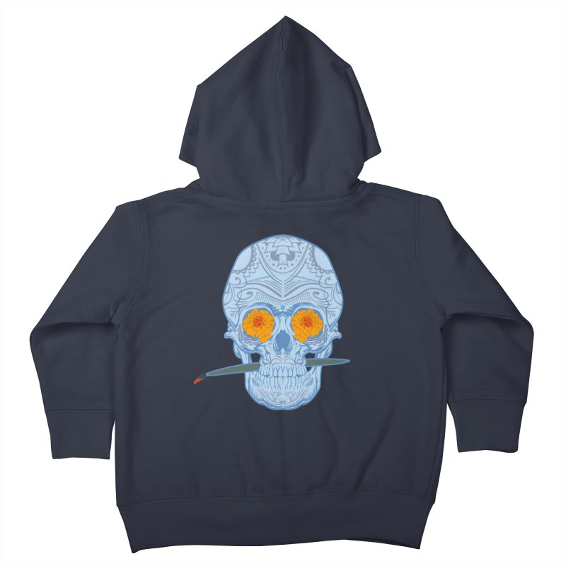 Sugar Skull white Kids Toddler Zip-Up Hoody by Dedos tees
