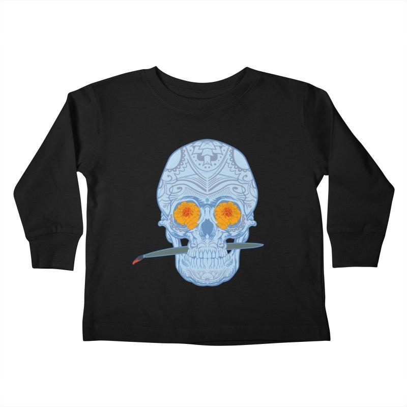 Sugar Skull white Kids Toddler Longsleeve T-Shirt by Dedos tees