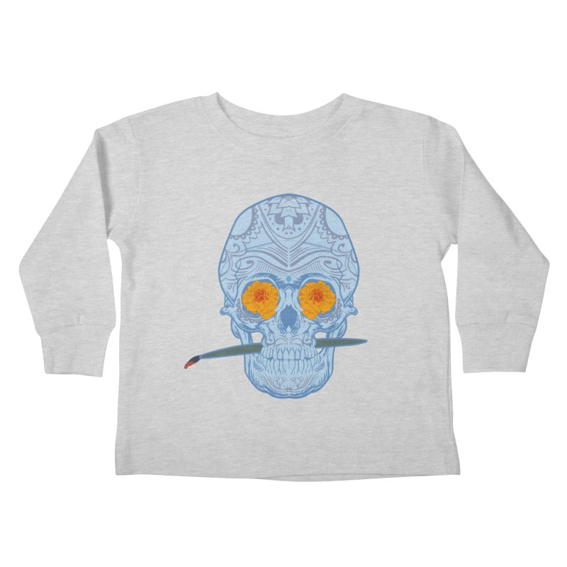 Sugar Skull white Kids Toddler Longsleeve T-Shirt by Dedos tees