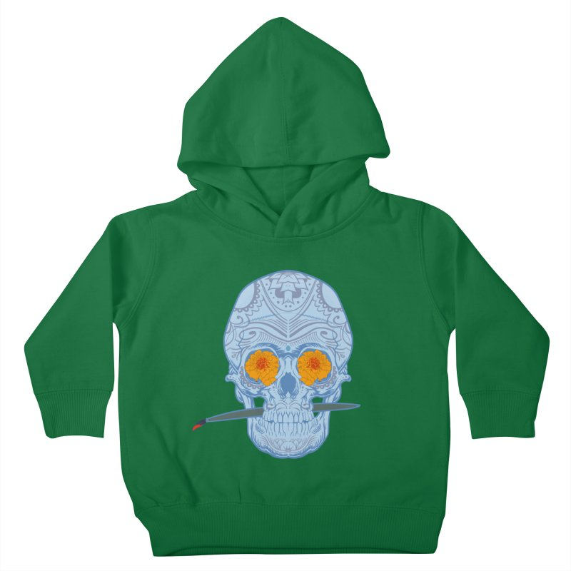 Sugar Skull white Kids Toddler Pullover Hoody by Dedos tees