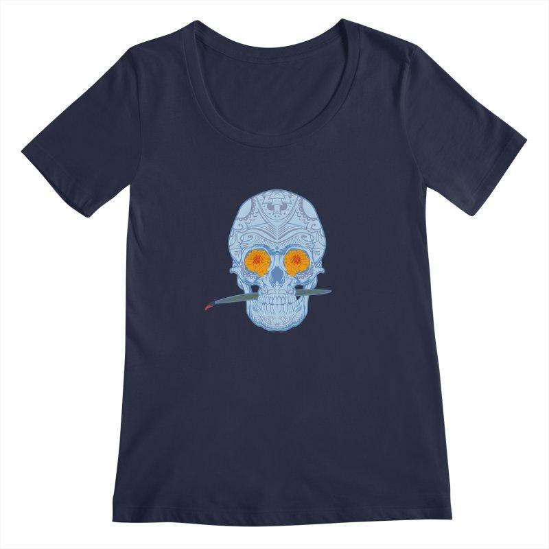 Sugar Skull white Women's Scoopneck by Dedos tees