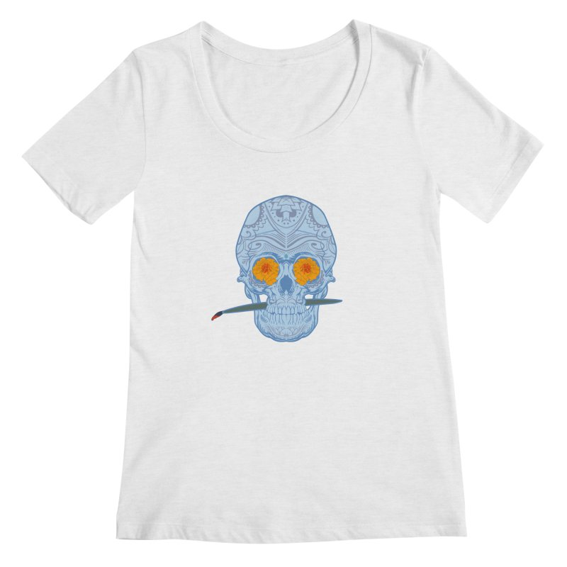 Sugar Skull white Women's Scoopneck by Dedos tees