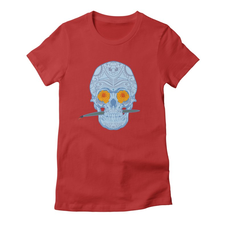 Sugar Skull white Women's Fitted T-Shirt by Dedos tees