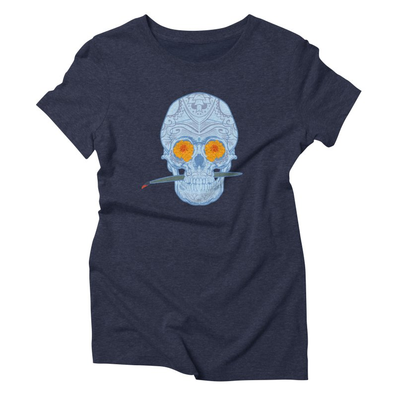 Sugar Skull white Women's Triblend T-Shirt by Dedos tees