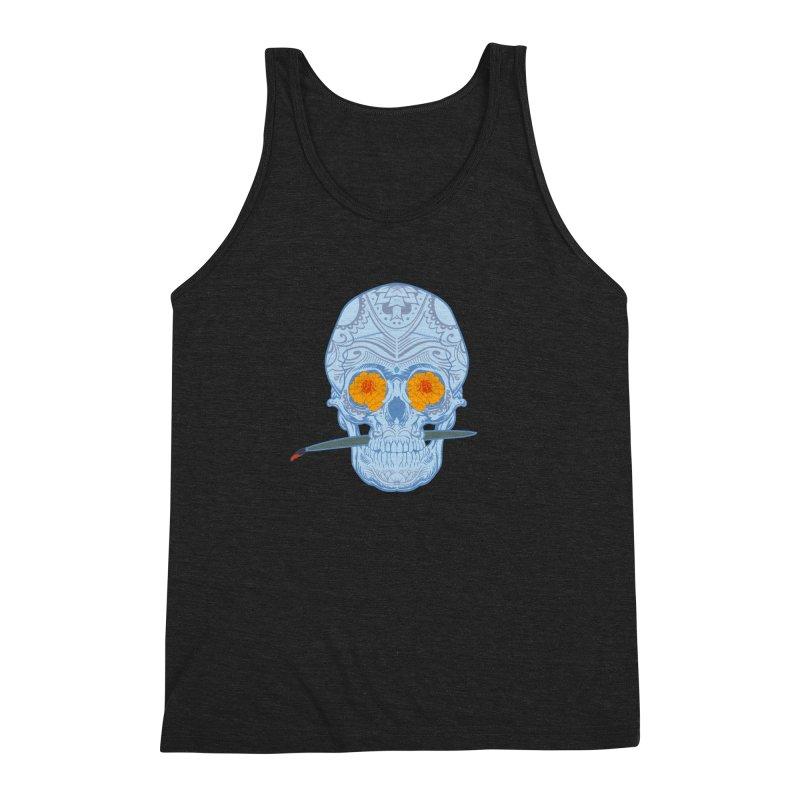 Sugar Skull white Men's Triblend Tank by Dedos tees