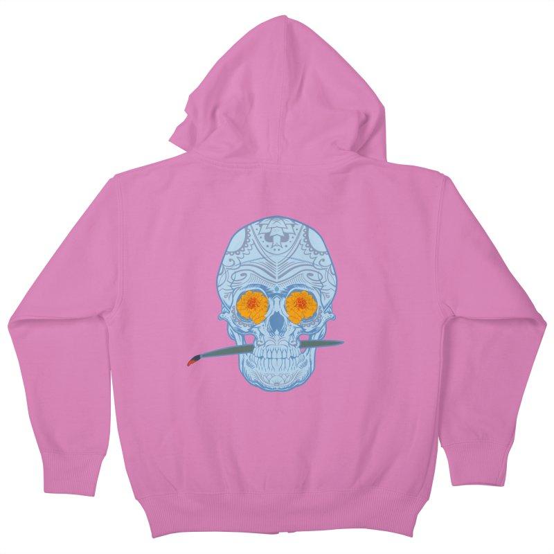 Sugar Skull white Kids Zip-Up Hoody by Dedos tees