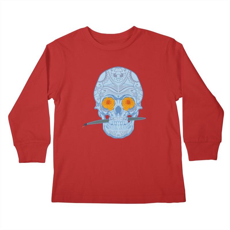 Sugar Skull white Kids Longsleeve T-Shirt by Dedos tees
