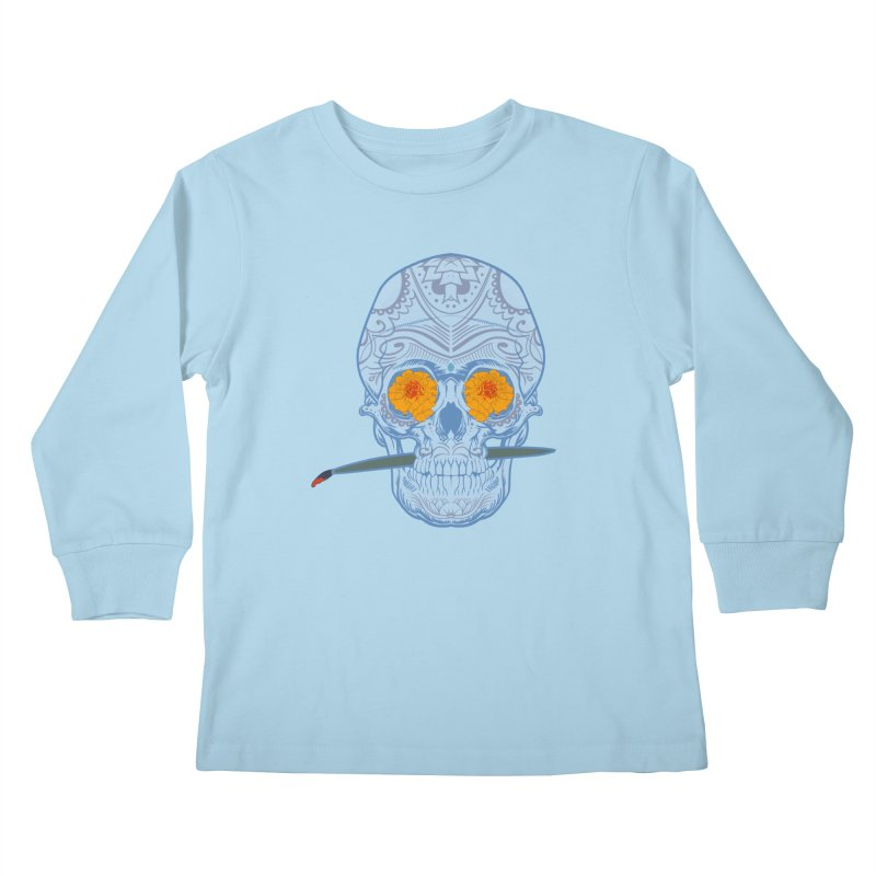 Sugar Skull white Kids Longsleeve T-Shirt by Dedos tees