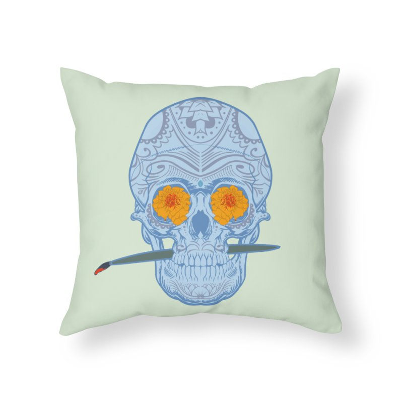 Sugar Skull white Home Throw Pillow by Dedos tees