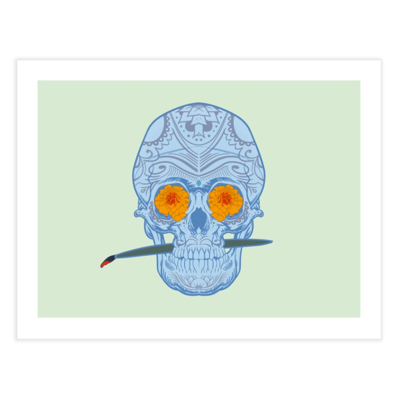 Sugar Skull white Home Fine Art Print by Dedos tees
