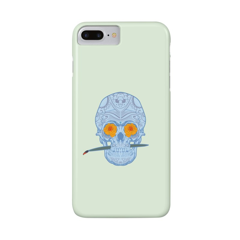 Sugar Skull white Accessories Phone Case by Dedos tees