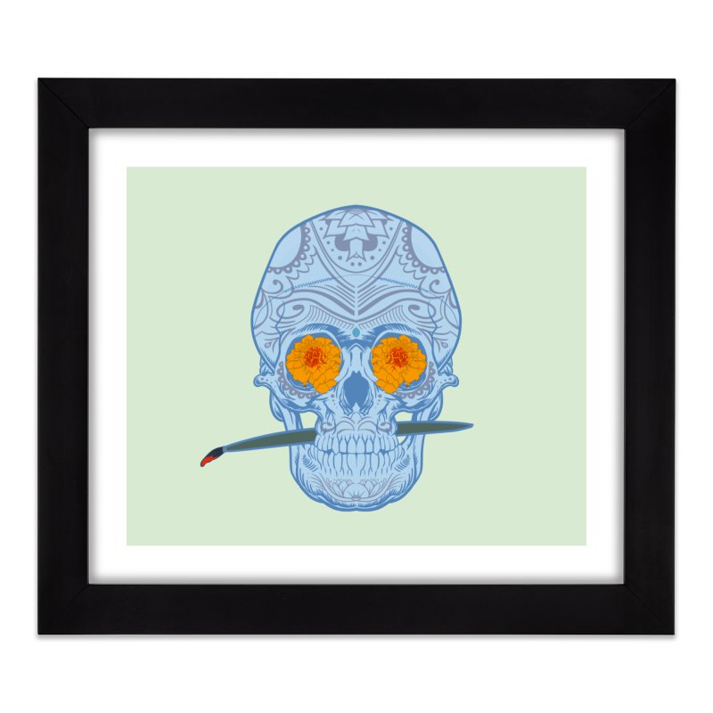 Sugar Skull white Home Framed Fine Art Print by Dedos tees